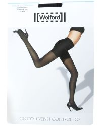 Wolford Black Cotton Velvet Control Top Tight