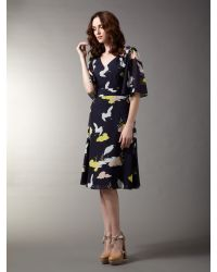 Biba Black Bird Printed Pleated Waist Tea Dress