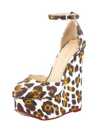 Charlotte Olympia - Multicolor Leopard Print Wedge Sandals - Lyst