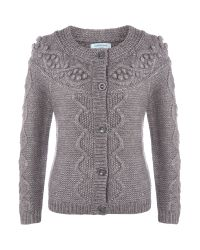 Dickins & Jones Gray Knitted Bobble Cable Cardigan