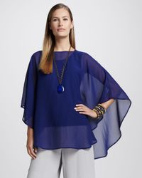 Eileen Fisher Blue Silk Georgette Poncho