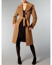 Ellen Tracy Brown Wool Blend Belted Coat