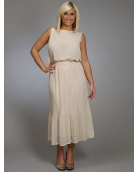 Gracieve Natural Sleeveless Pleat Midi Dress