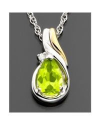 Hue - Metallic 14k Gold Sterling Silver Peridot 78 Ct Tw Diamond Accent Pendant - Lyst