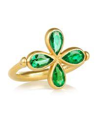 Marie-hélène De Taillac | Metallic Swivel 18karat Mattegold Emerald Ring | Lyst
