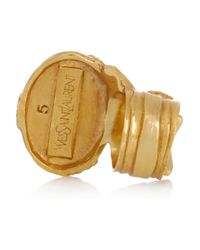 Saint Laurent - Blue Arty Gold-Plated Glass Ring - Lyst