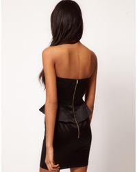 ASOS Black Asos Bandeau Dress With Peplum