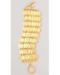 Kenneth Jay Lane | Metallic Satin Gold Coin Bracelet | Lyst