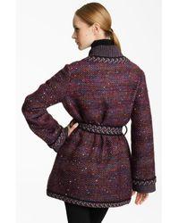 Missoni | Brown Belted Tweed Coat | Lyst