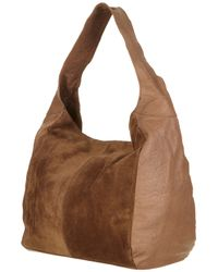 TOPSHOP Brown Merino and Suede Slouch Bag