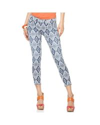 7 For All Mankind Blue Cropped Skinny Diamond Printed
