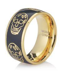 Alexander McQueen | Black Enamel Skull Ring | Lyst