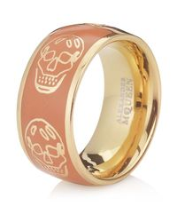 Alexander McQueen | Orange Enamel Skull Ring | Lyst