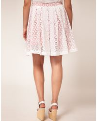 ASOS White Asos Curve Exclusive Umbrella Skirt in Broidery