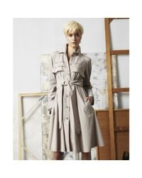 Doo. Ri | Natural Foldover Collar Long Sleeve Button Ruffled Pleated Pocket Tie Belt A Line Trench | Lyst