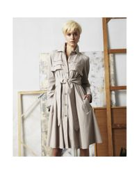 Doo. Ri - Natural Foldover Collar Long Sleeve Button Ruffled Pleated Pocket Tie Belt A Line Trench - Lyst