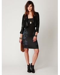 Free People | Black Blossom Knit Bodycon Tube Dress | Lyst