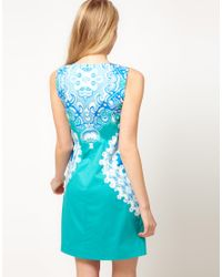 Oasis Blue Oasis Placement Paisley Dress