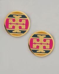 Tory Burch - Metallic Enamel Striped Logo Earrings Magenta - Lyst