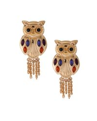 Disaya | Metallic Disaya Gold Owl Drop Earrings | Lyst