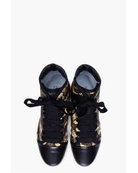 Lanvin - Multicolor Pythonprint Satin and Leather Sneakers - Lyst
