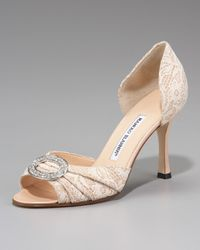Manolo Blahnik | Natural Sedaraby Bejeweled Lace Dorsay | Lyst