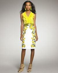 Oscar de la Renta   Yellow Poppyembroidered Pencil Skirt   Lyst