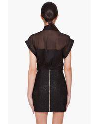 Balmain Black Silk Chiffon and Satin Shirt