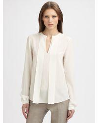 Akris Punto White Silk Tie Blouse
