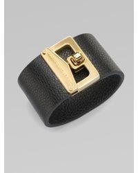 Marc By Marc Jacobs | Black Turnlock Leather Cuff Bracelet | Lyst