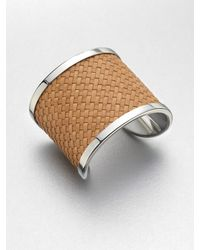 Michael Kors | Natural Woven Leather Cuff Bracelet | Lyst