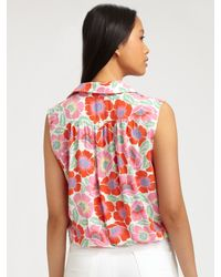 Theory Pink Michikomaui Floral Print Tie Front Tank