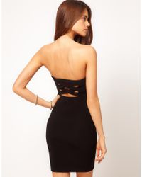 ASOS Black Asos Bandeau Dress with Strappy Back