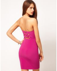 ASOS Purple Asos Bandeau Dress with Strappy Back