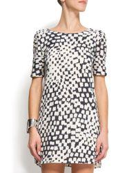 Mango Grafic Printed Dress Black