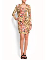 Mango Multicolor Draped Dress