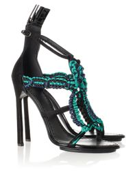 Proenza Schouler | Black Suede and Macramé Sandals | Lyst