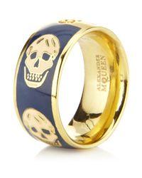 Alexander McQueen | Blue Enamel Skull Ring | Lyst