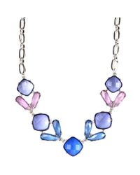 Anne Klein | Blue Multicolored Frontal Necklace | Lyst