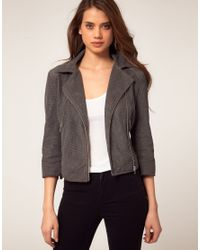 ASOS Collection | Gray Asos Pu Perforated Biker Jacket | Lyst