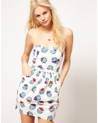 ASOS Multicolor Asos Bandeau Dress with Bell Skirt in Cupcake Print