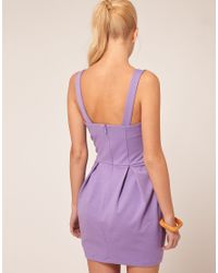 ASOS Purple Asos Tulip Dress with Button Front