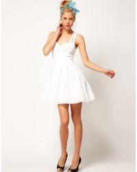 ASOS White Asos Summer Dress with Sweetheart Neck