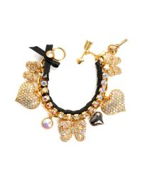 Betsey Johnson | Black Pave Crystal Heart and Bow Bracelet | Lyst