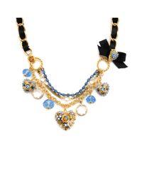 Betsey Johnson Black Blue Crystal Heart Necklace