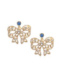 Betsey Johnson - Metallic Gold Tone Crystal Bow Earrings - Lyst