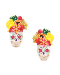 Betsey Johnson | Metallic Skull and Fruit Stud Earrings | Lyst
