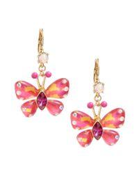 Betsey Johnson Orange Butterfly Drop Earrings