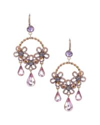 Betsey Johnson - Purple Flower Teardrop Hoop Earrings - Lyst