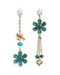 Betsey Johnson Blue Turquoise Leopard Flower Mismatch Earrings
